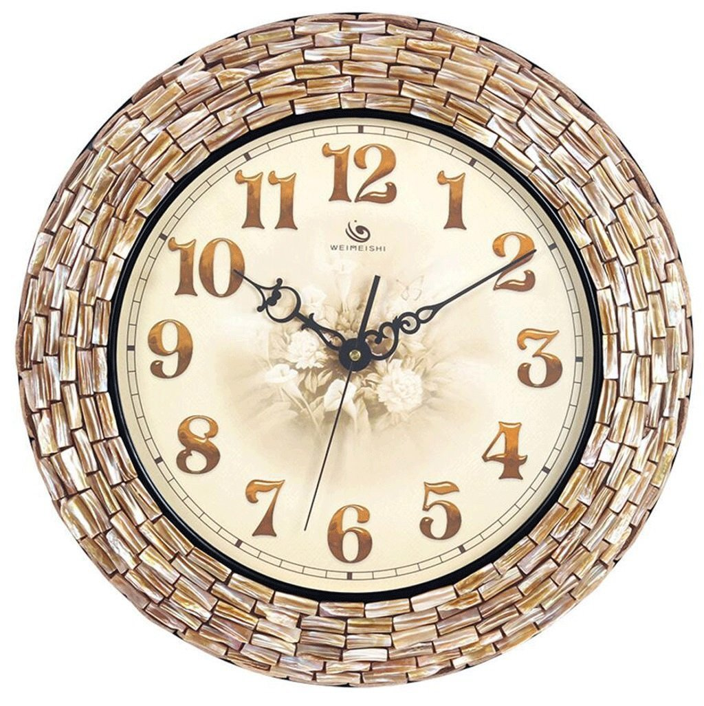 掛け時計 シェルアートクォーツウォールクロック手作りクリエイティブウォールクロックリビングルームラージ地中海ファッションクォーツ時計 (サイズ さいず : 18 inches (46cm)) B07DRHMJSZ18 inches (46cm)