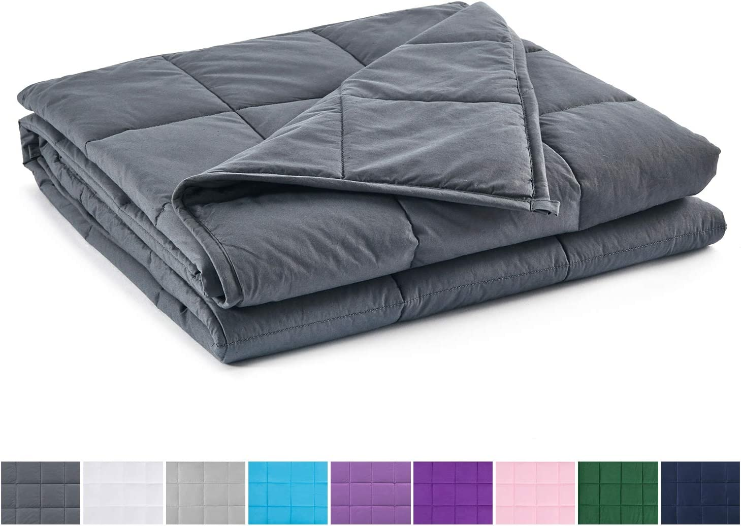 17lbs Weighted Blanket Queen//King Size Crystal Velvet Fabric w//Glass Beads Gray