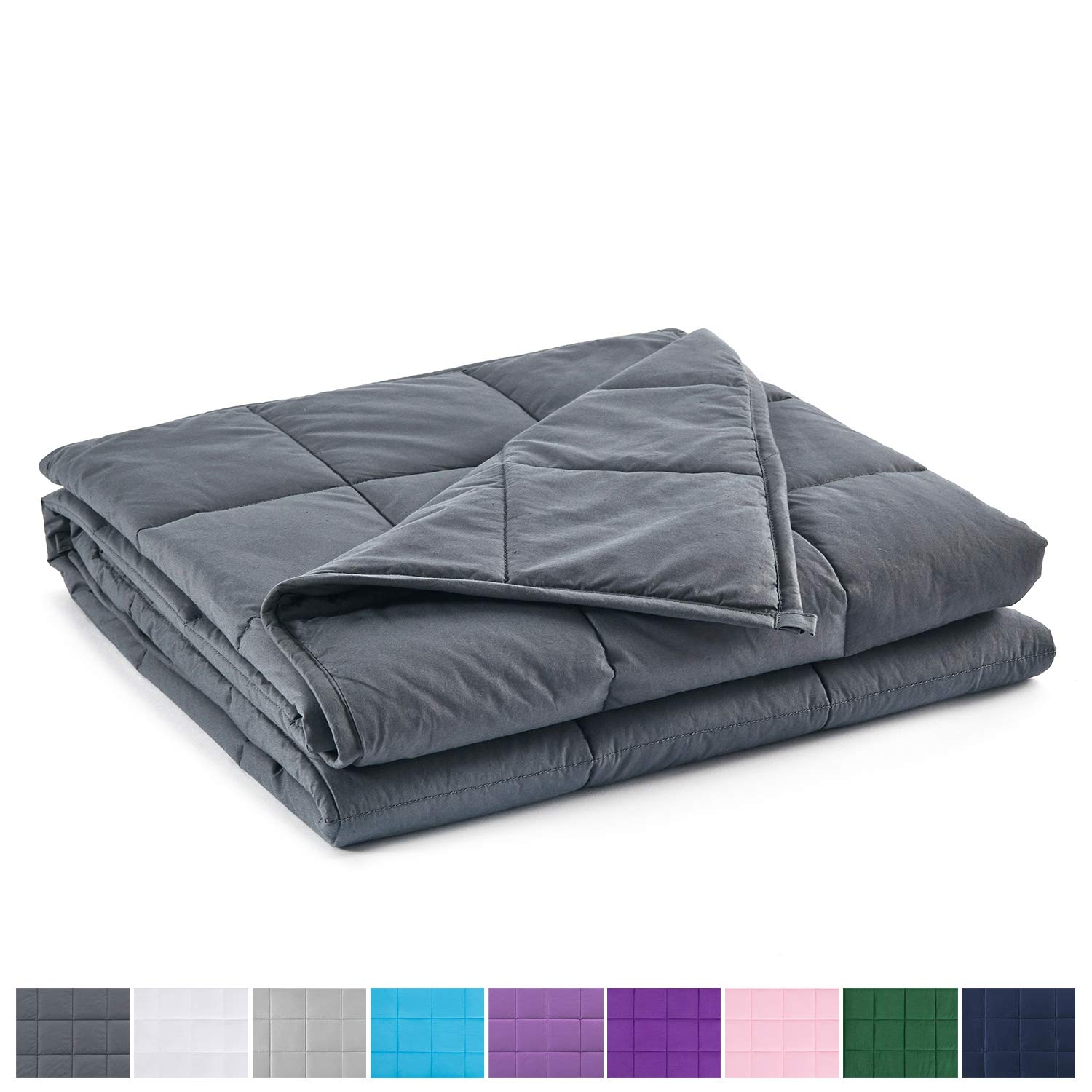 RelaxBlanket King Size Weighted Blanket | 80''x90'',20lbs | for Single or Double | Premium Cotton Material with Glass Beads | Dark Grey