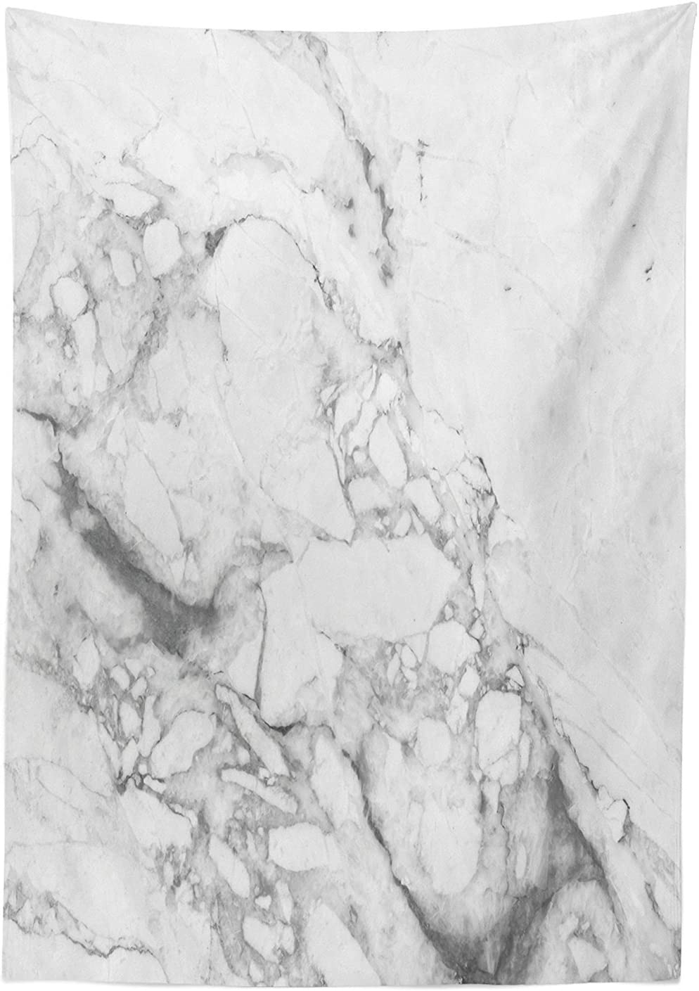 52W X 70L Inches Dining Room Kitchen Rectangular Table Cover White Grey Apartment Decor Tablecloth by Ambesonne Old Fashion Grungy Cultured Marbling Motif Formation Lines Artsy Design