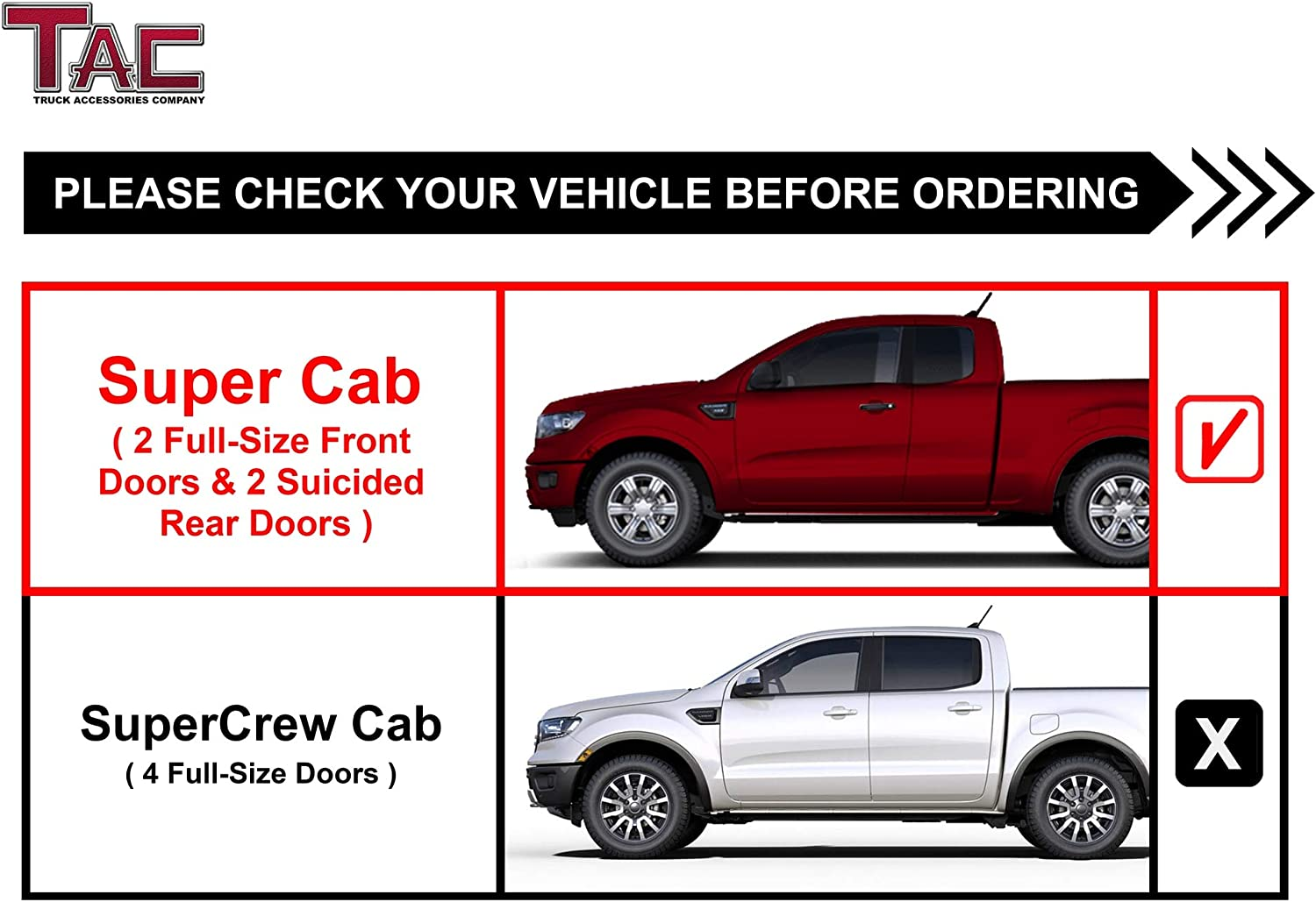 """TAC Side Steps Running Boards Fit 2019-2020 Ford Ranger SuperCrew Truck Pickup 3/"""" Texture Black Side Bars Nerf Bars Off Road Accessories"""