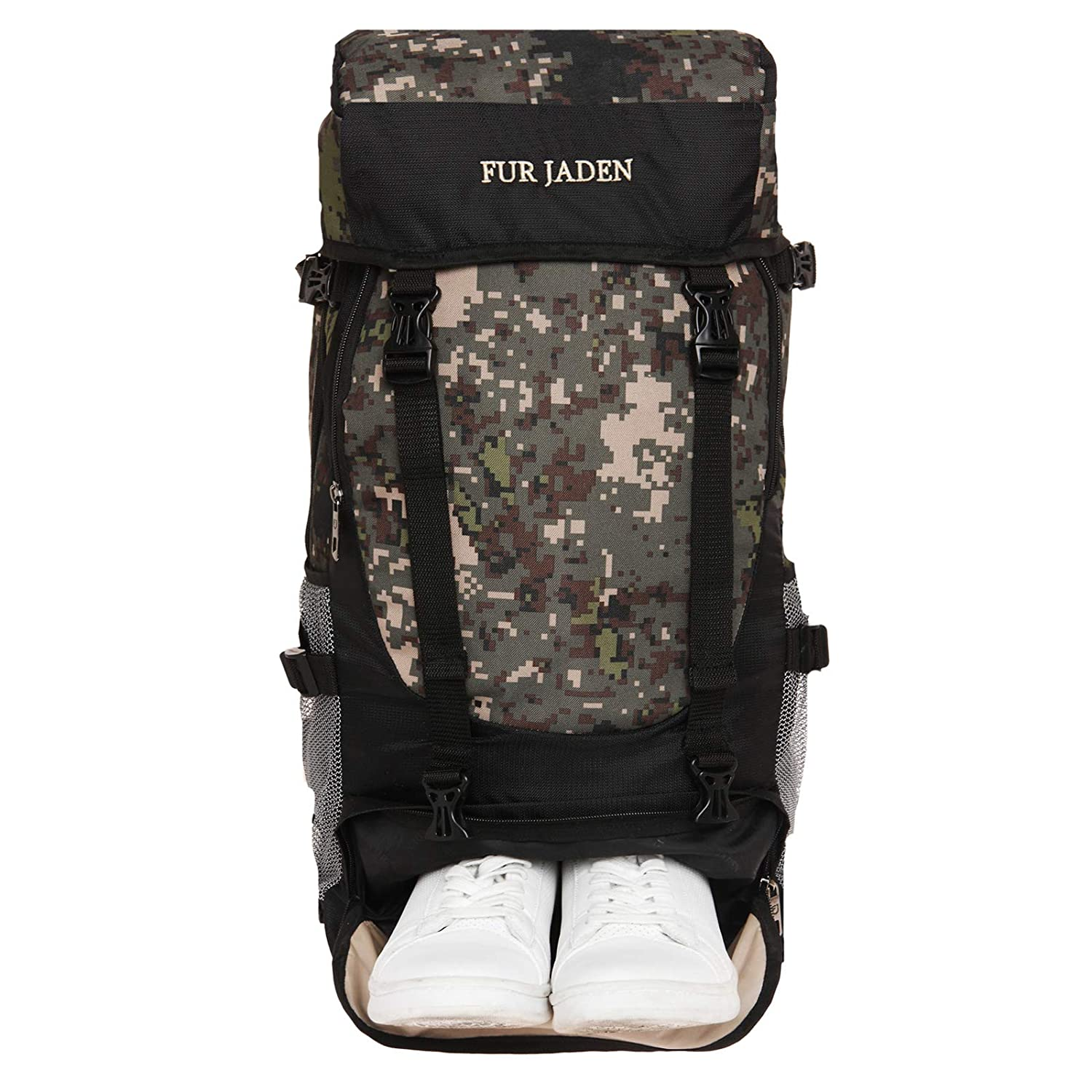 Fur Jaden, 55 LTR Military Style Rucksack Travel Backpack Bag for Trekking, Hiking, Weekend Trips, Safaris with Dedicated Shoe Compartment