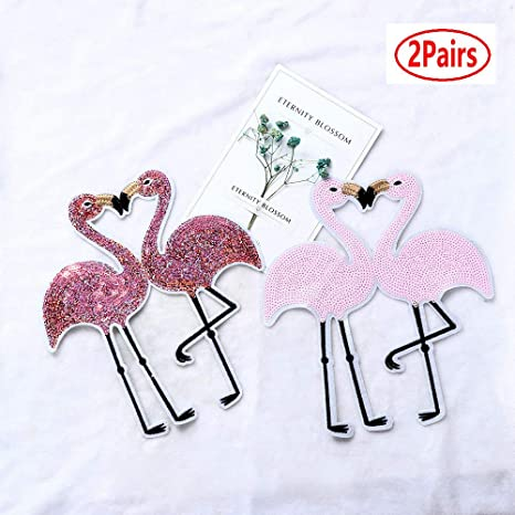 Embroidery Applique Sequin Iron On Clothes Flamingo Sweater Clothes Patch New