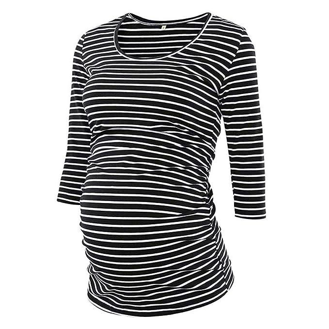 Vestido para Mujeres Embarazadas Camison Mujer Manga Larga Raya de Las Mujeres 3/4 Manga O Cuello de Maternidad Tops Embarazo Blusa Camiseta: Amazon.es: ...