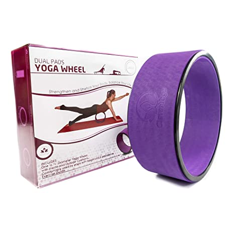 fb030e419d975 Stretching Yoga Wheel - Supports Warm Ups, Poses, Backbends - Extra Wide  Dharma Wheel Prop With Double Sided Padding For Maximum Comfort and Support  - Use ...