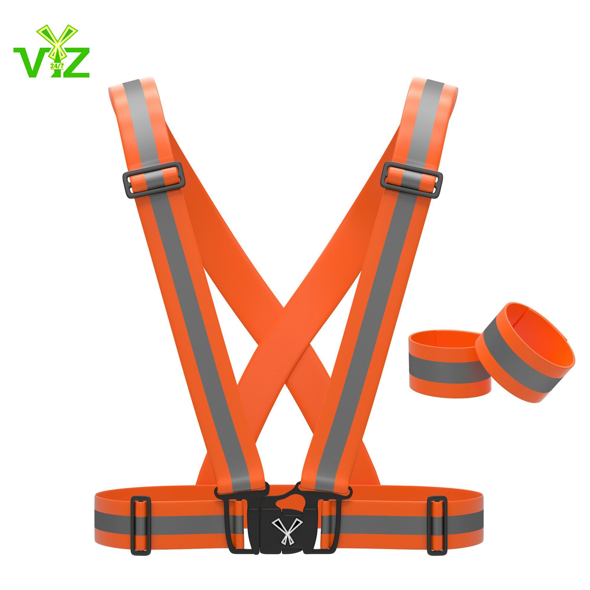 247 Viz Reflective Vest with Hi Vis Bands, Fully Adjustable & Multi-Purpose: Running, Cycling Gear, Motorcycle Safety, Dog Walking & More - High Visibility Neon Orange