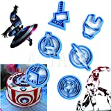 Anyana 6pcs set Superhero biscuit Cutter stamp Cpt Iron Man Avengers Thor Flash Shield cookie bakery