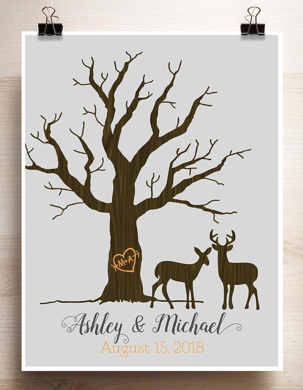 Wedding Tree Guest Book Alternative Thumbprint Couple Rustic Woodgrain Look Print
