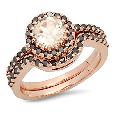 Amazoncom 14K Rose Gold Round Morganite Black Diamond Ladies
