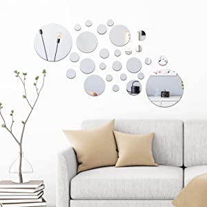 154 Pieces 3D Acrylic Mirror Wall Decor Stickers Removable Circular Mirror DIY Solid Circle Mirror for Living Room, Bedroom, Sofa Backdrop, TV Wall, Background (Silver)