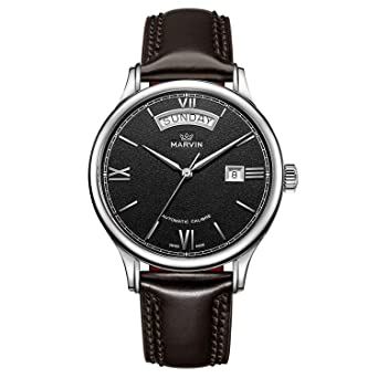 Marvin Swiss Made Mens Automatic Movement Casual Watches Black Dial Big Date Roman Numeral Analog Display