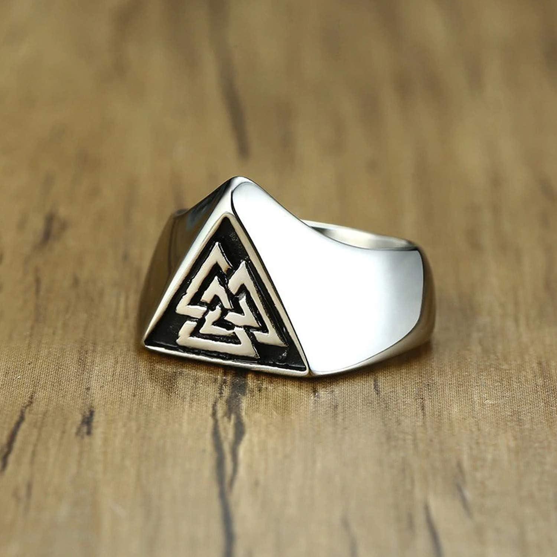 NA Triangle Viking chevali/ère pour Hommes en Acier Inoxydable Valknut Viking Anneaux scandinave Wikinger Bijoux Nordiques