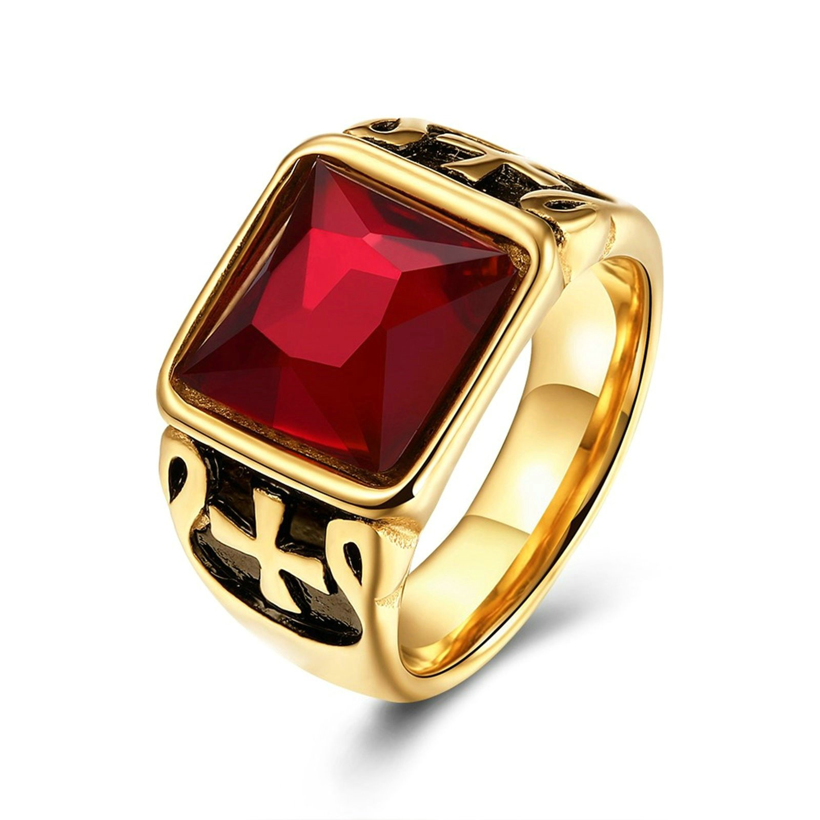 Epinki Gold Plated Men Ring Square Ring Red Cubic Zirconia Engagement Wedding Ring Size 7 Men Accessories