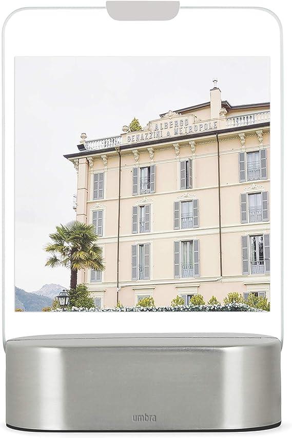 beleuchteter Glasrahmen f/ür Zwei 5 x 7,5 cm Polaroid Bilder Umbra Glo Instant Bilderrahmen mit LED Beleuchtung 5x7,5 Metall Mattes Messing