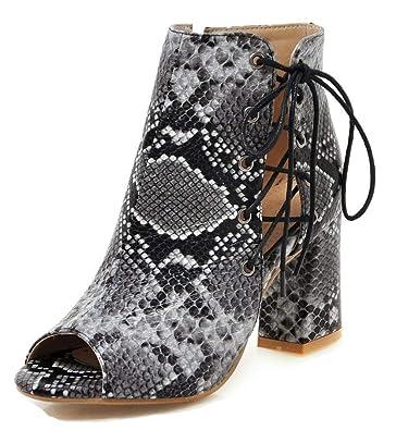 c0480c8d8 Aisun Women's Sexy Snake Print Lace Up Chunky High Heel Dressy Peep Toe  Sandal Boots with