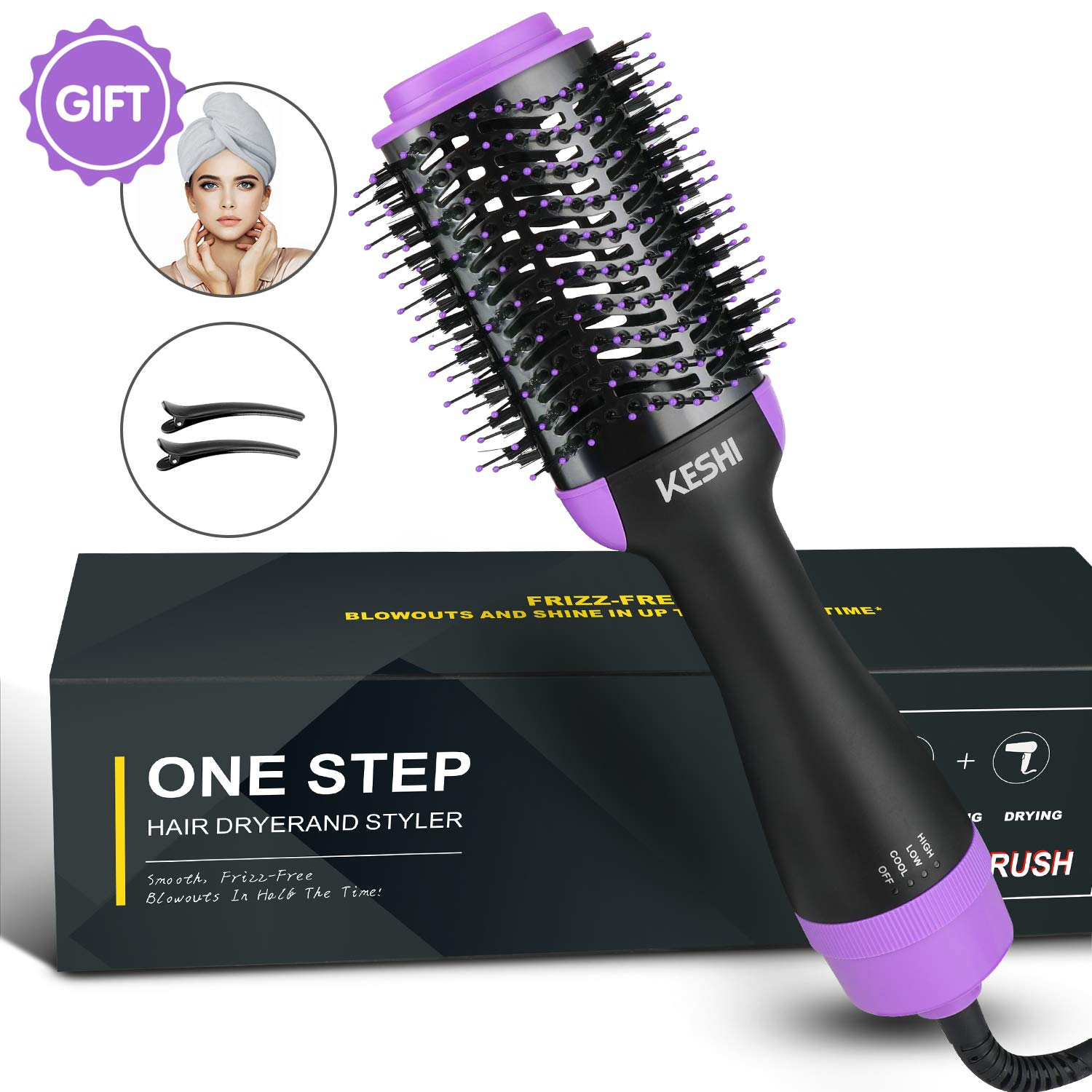 Hair Dryer Brush, Hot Air Brush, KeShi One Step Hair Dryer & Volumizer 3 in 1 Styling Brush with Negative Ion, Ceramic Blow Dryer Curler and Straightener for All Hair Types by KeShi