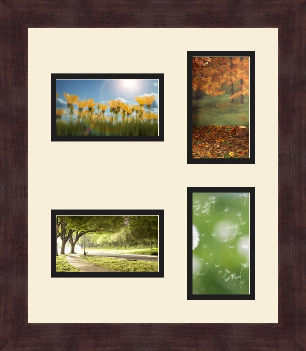 ArtToFrames 1.25-Inch Espresso Picture Frame with 4 Openings of 3 by 5-Inch and a Red Orange Top Mat and Black Bottom Mat