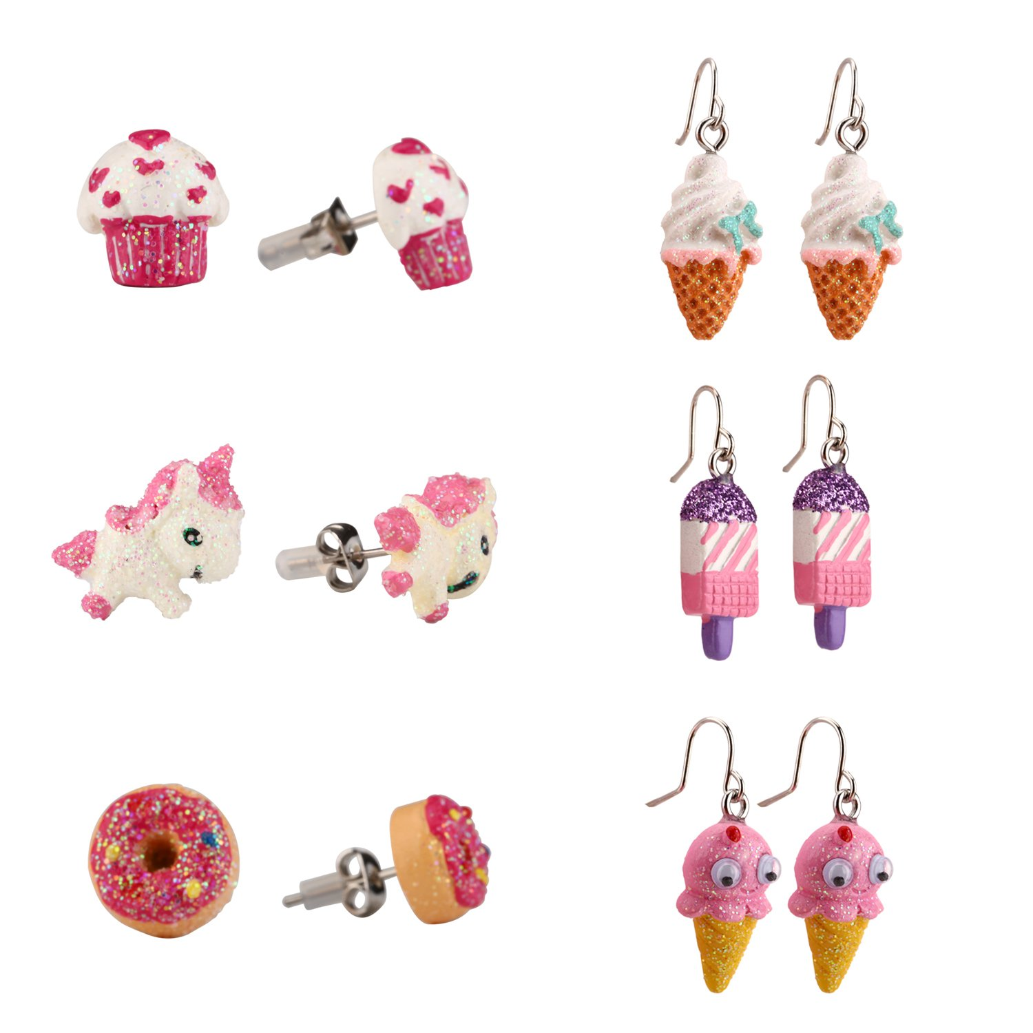 Hypoallergenic Pendant Earring Stud Earring Set for Kids, Cute ice cream Swing Pendant Earrings Little Girls Gifts Skywisewin