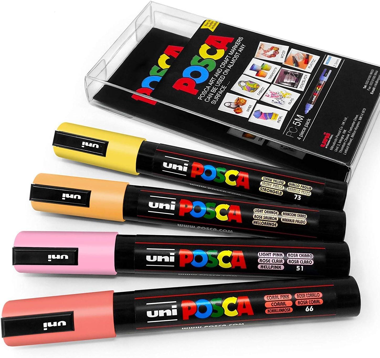 Uni Posca - PC-5M Arte Pintura Rotuladores - Juego de 4 - en Plástico Cartera - Caliente Pastel