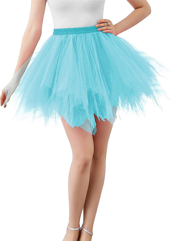 Adult Women 80s Tutu Skirt Layered Tulle Petticoat Halloween Tutu Light Blue