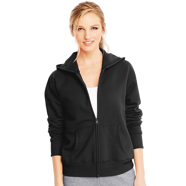 Hanes ComfortSoft EcoSmart Women's Full-Zip Hoodie Sweatshirt_Ebony_M