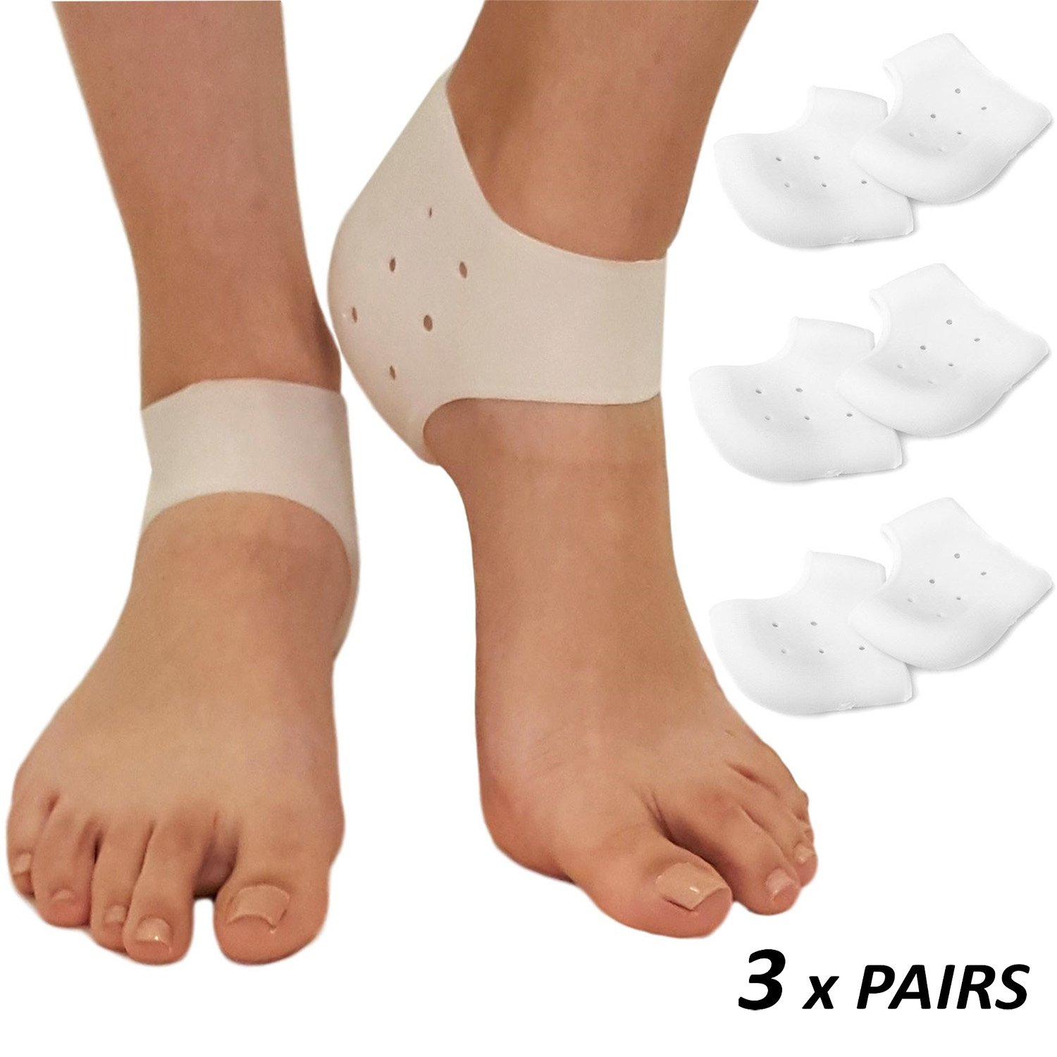 Plantar Fasciitis Inserts Heel Protectors - Silicone Gel Heel Cups Shoes Inserts, Orthotics Heel Cushion for Bone Spur & Heel Spur Pain Relief 3 Pairs of Foot Pain Plantar Fascitis Heel Sleeves - 3mm by ARMSTRONG AMERIKA