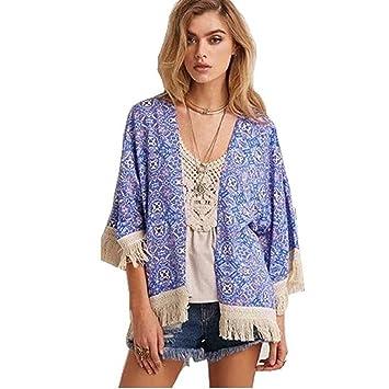 Culater® Franja Borla Tops De La Chaqueta Kimono Chal De Gasa Impresa Cardigan Blusa (