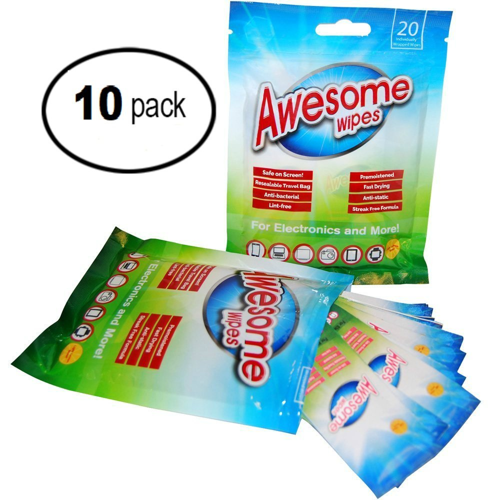Awesome Wipes Electronic Wipes for Computers - Disinfecting Cleaning Wipes for All Types of Screens and Lenses - Resealable Pouch is Great for Travel (10 Pack)