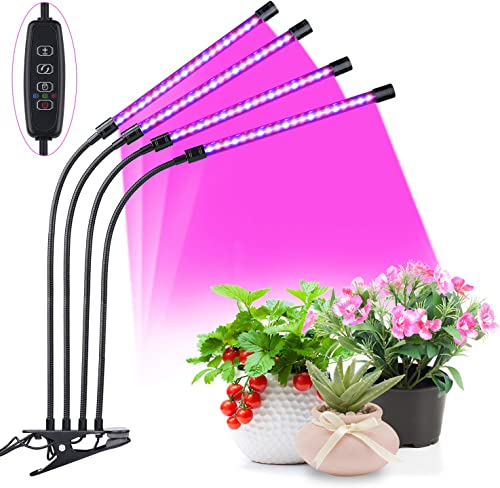 Grow Light Bulb Indoor Plant – Grow Light for Indoor Plants 45W 5 Dimmable Levels Plant Grow Lights for Indoor Plants with Red Blue Spectrum, Adjustable Gooseneck, 3 9 12H Timer, 3 Switch Modes