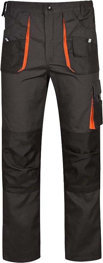 Imagen deDINOZAVR Atlas Pantalones de Trabajo Estilo Cargo para Hombre - Resistentes - Gris Oscuro/Negro/Naranja