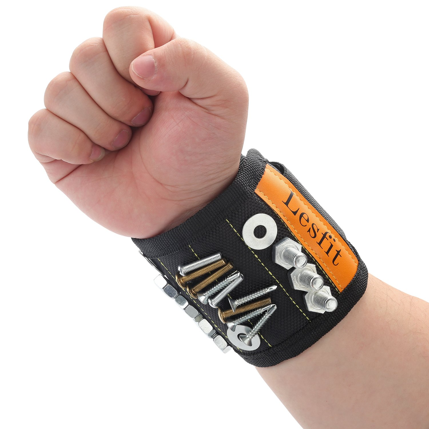 Magnetic Wristband, LESFIT Magnetic Wristband with Strong Magnets for Holding Small Tools, Screws, Nails (Black)