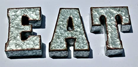 RUSTIC EAT Galvanized Metal Tin 3D Wall Letters Sign Block Monogram  Standing or Hanging 7 inches Tall Farm House Decor