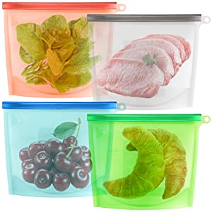 maxin Reusable Silicone Food Storage Bag Set of 4, Silicone Preservation Bag Airtight Seal Food Storage Container for Fruits Vegetables Meat Preservation Airtight Container Versatile Cooking Kitchen