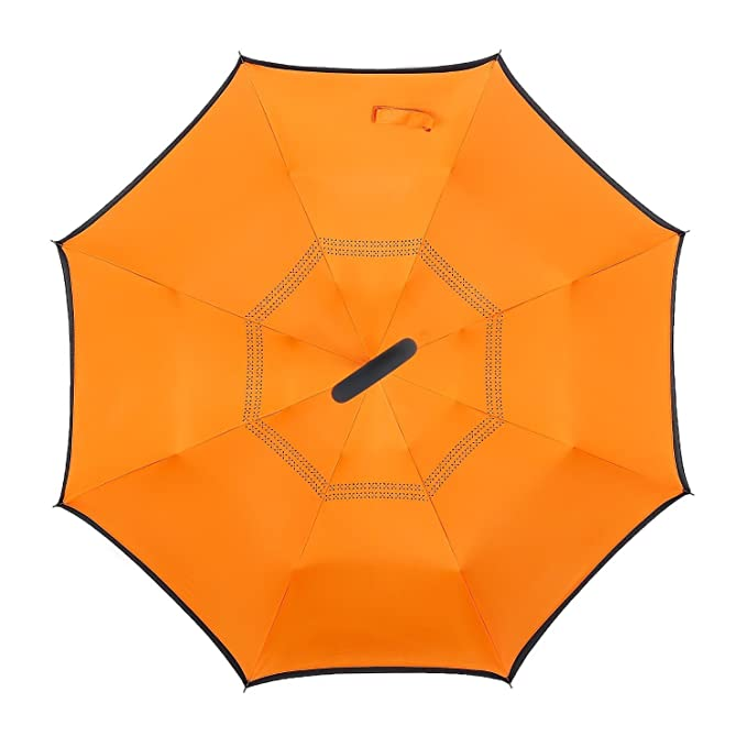 Amazon.com: Windproof Uv protection Reverse Folding Double Layer Inverted Umbrella Travel Umbrella and Self Standing Inside Out Rain Protection Umbrella ...