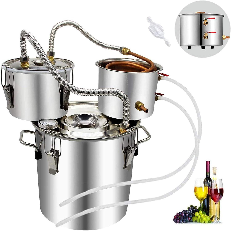 DCHOUSE Destilador de vino Moonshine de 5 galones, 20 litros, 3 macetas de agua con alcohol en casa, con tubo de cobre, kit de preparación de acero inoxidable con termómetro para vino, whisky, brandy