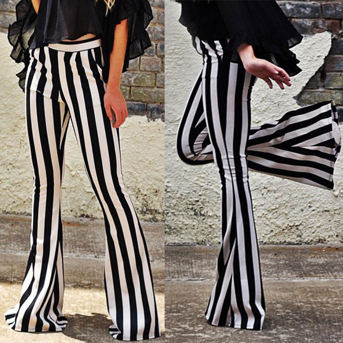 279ea3af969ee High Waist Stretch Vertical Striped Long Bottoms Pants for Womens Bell  Flared Trousers at Amazon Women s Clothing store