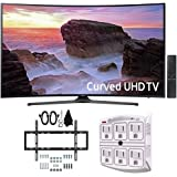 "Samsung UN65MU6500 Curved 65"" 4K Ultra HD Smart LED TV (2017 Model) w/ Wall Mount Bundle Includes, Slim Flat Wall Mount Ultimate Bundle Kit & SurgePro 6-Outlet Surge Adapter with Night Light"
