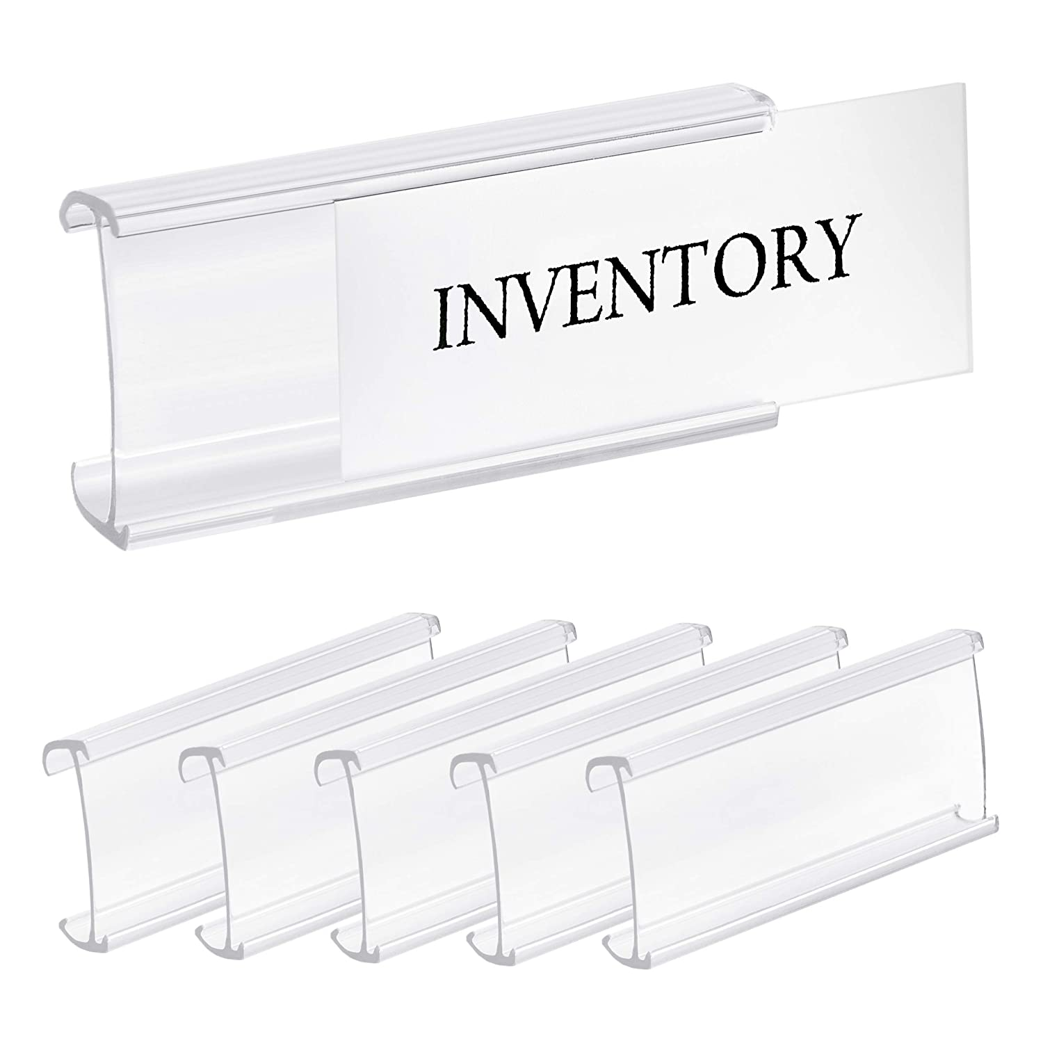 "Pack of 25 – Clear Butyrate Plastic Wire Shelf Label Holder, Sign and Ticket Holder, (Fits Metro and Nexel 1-1/4"" Shelves ONLY) - Length of Label Area, 3"" X Height of Label Area, 1-1/4"""
