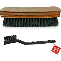 """6.7"""" Leather Brush - Carpet & Upholstery Brush - Durable Soft Nylon Bristles - Free Detailing Brush - Unique Concave Design Wood Handle Comfortable Grip - for Car Interior, Seat, Couch, Boot, Shoes"""