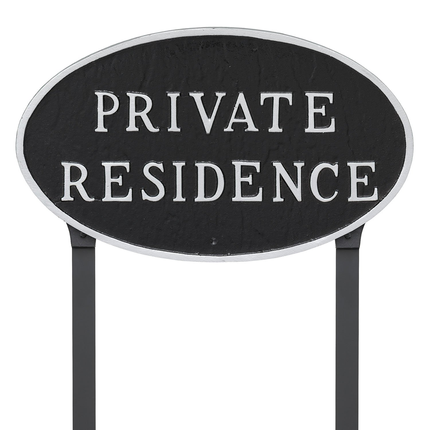Montague Metal Products 10'' x 18'' Oval Private Residence Statement Plaque with 23'' Lawn Stake, Black/Silver