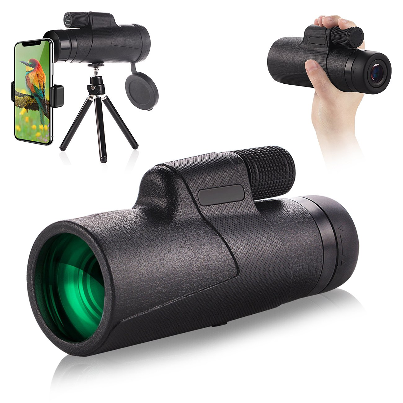 Waterproof Monocular Scope - 10x42 High Power Prism Monocular and Quick Smartphone Holder - Waterproof Fog- proof Shockproof Scope -BAK4 Prism FMC for Bird Watching Hunting Camping Travelling Wildlife