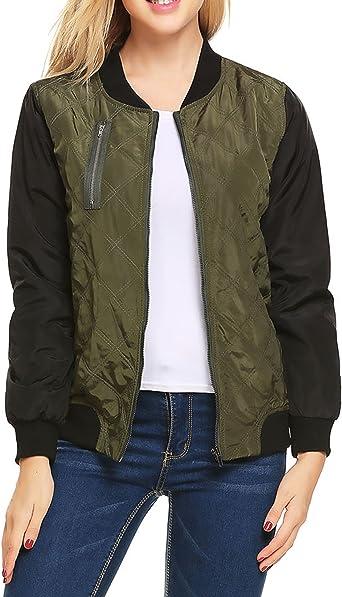 Zeagoo Womens Bomber Jacket Classic Style Zip Up Biker Vintage Jacket