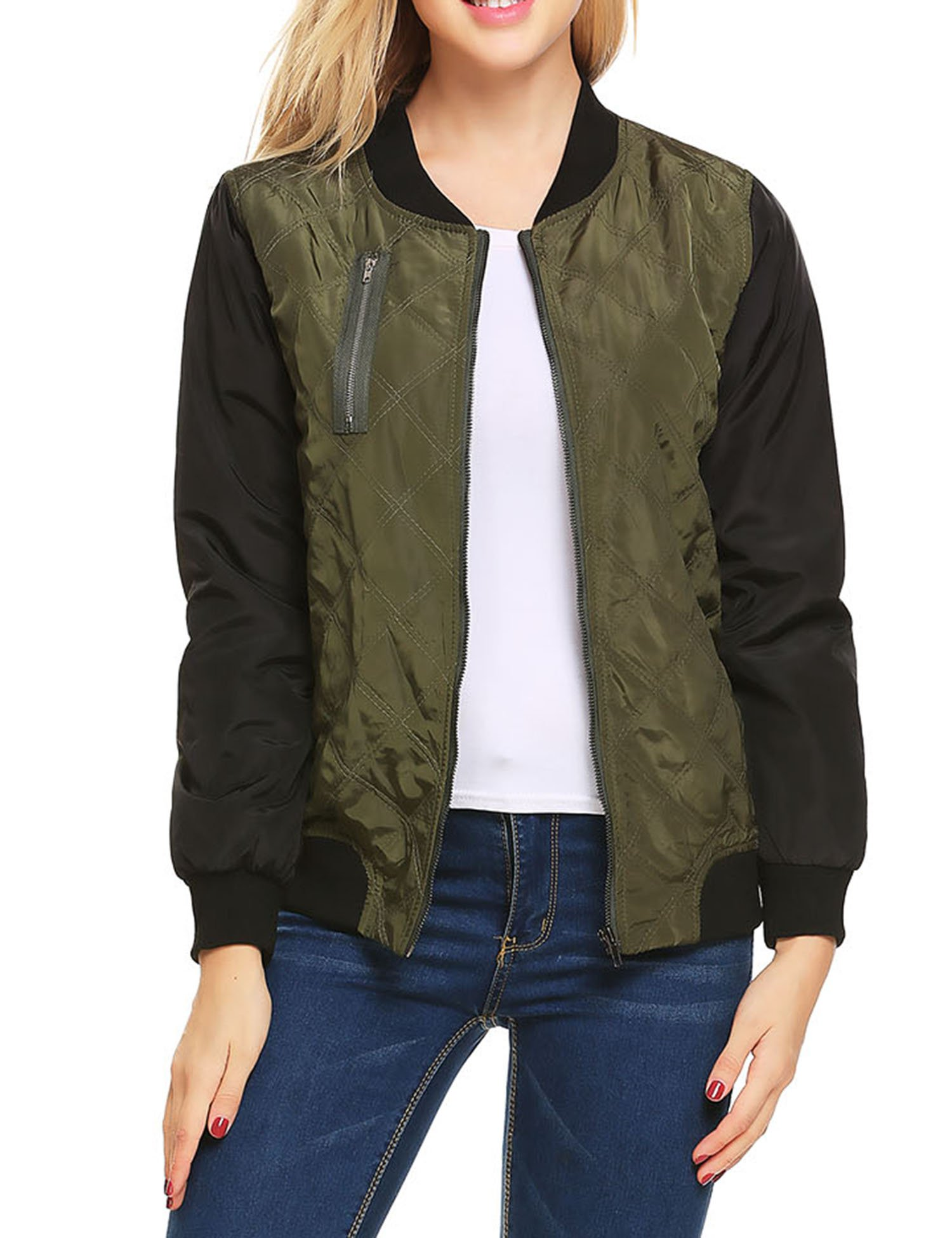 Beyove Women's Womens Bomber Jacket Classic Style Zip Up Biker Vintage Jacket