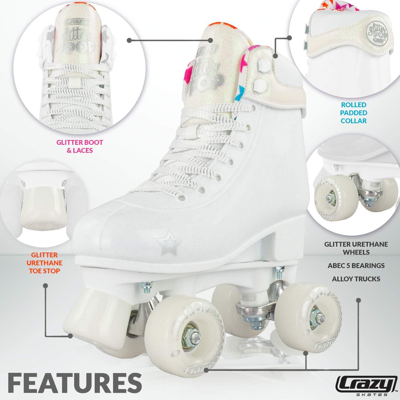 Crazy Skates Glitter POP Adjustable Roller Skates for Girls and Boys | Size Adjustable Quad Skates That Fit 4 Shoe Sizes | White (Sizes jr12-2) by Crazy Skates (Image #2)