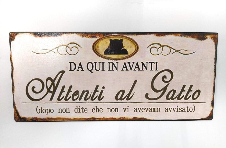 Vintage Collection Targa in Metallo Attenti al Gatto