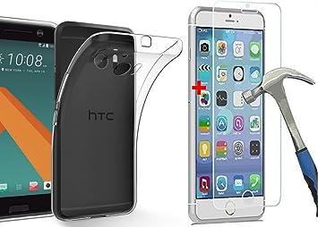 1 X PROTECCIÓN DE VIDRIO TEMPLADO HTC M10 + FUNDA Carcasa ...