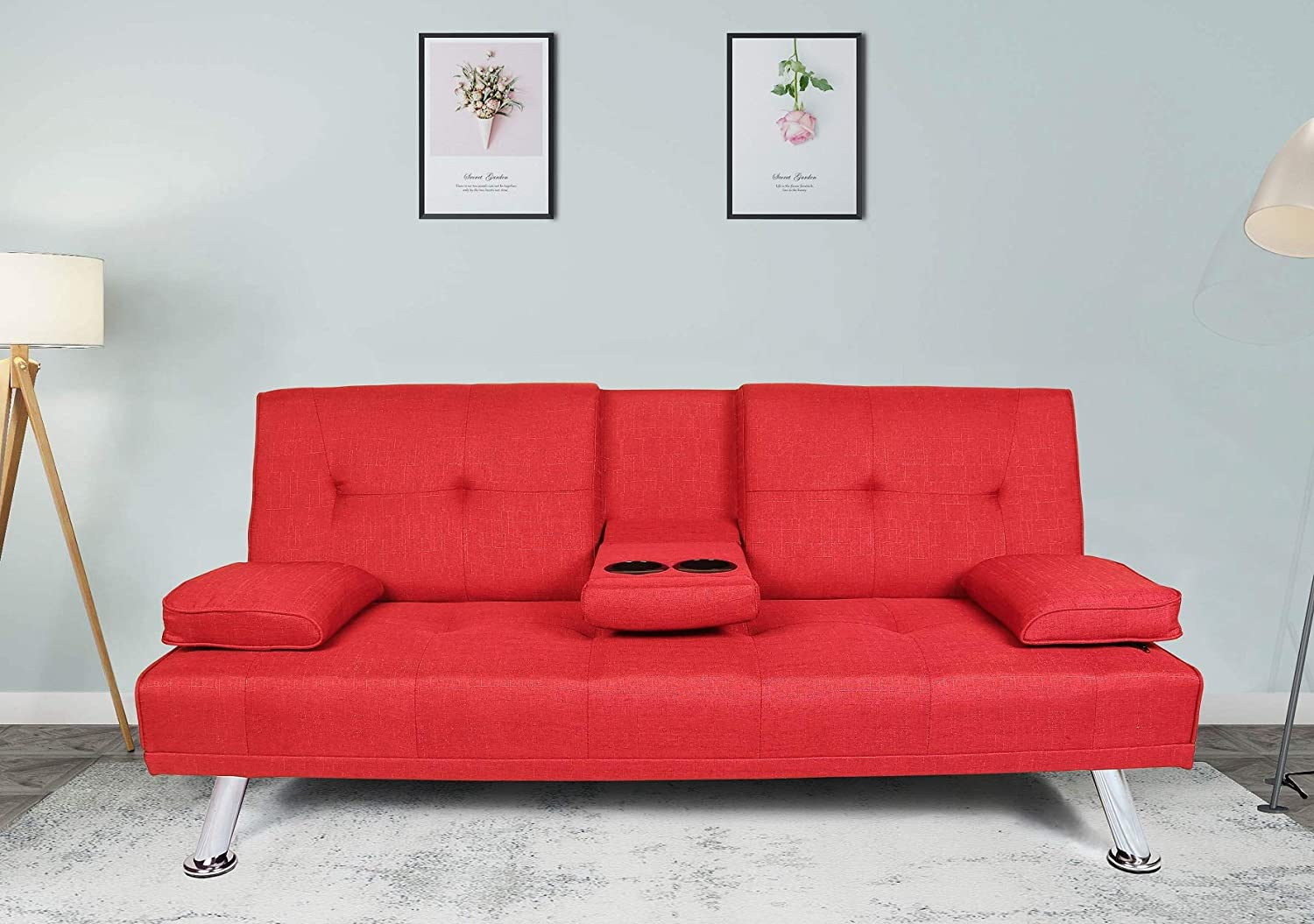 Rhomtree Futon Sofa Bed Foldable Reclining Back Sofa Sleeper with Cup Holder Modern Design Folding Lounge Couch Sofa for Home Living Room Apartment (Red)