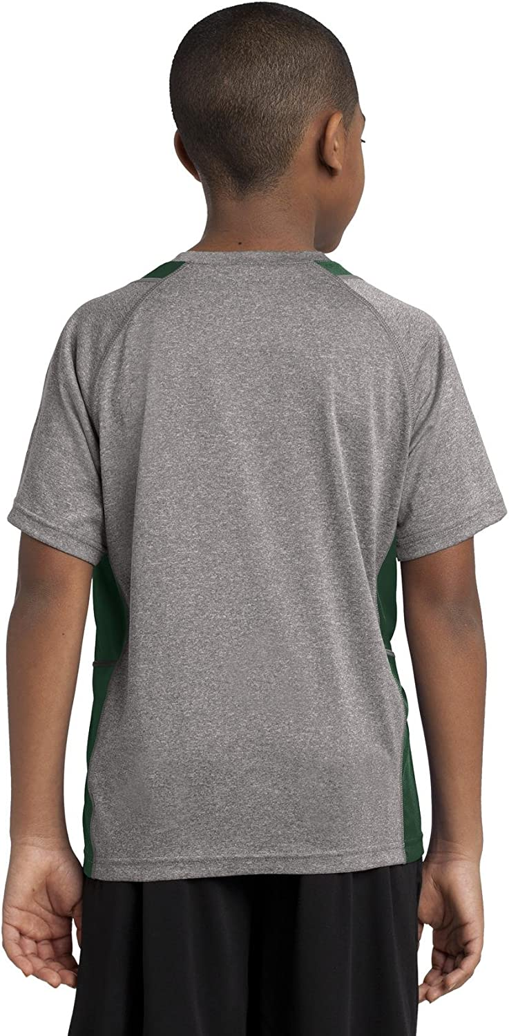 Vnt He//For Grn Sport Tek Youth Heather Colorblock Contender T-Shirt-XL