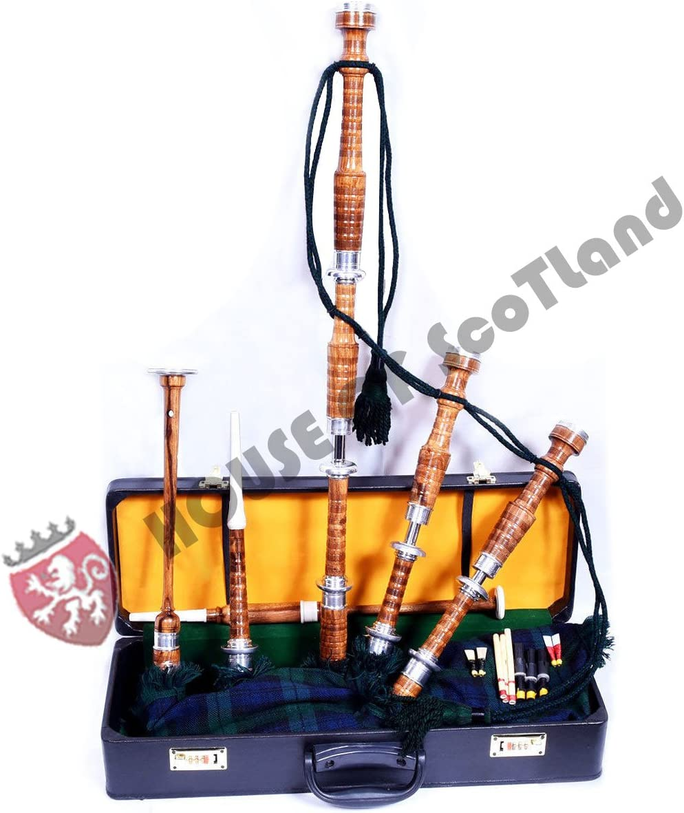 Great Highland Bagpipes Silver Amounts//Scottish Bagpipe with Hard Case.