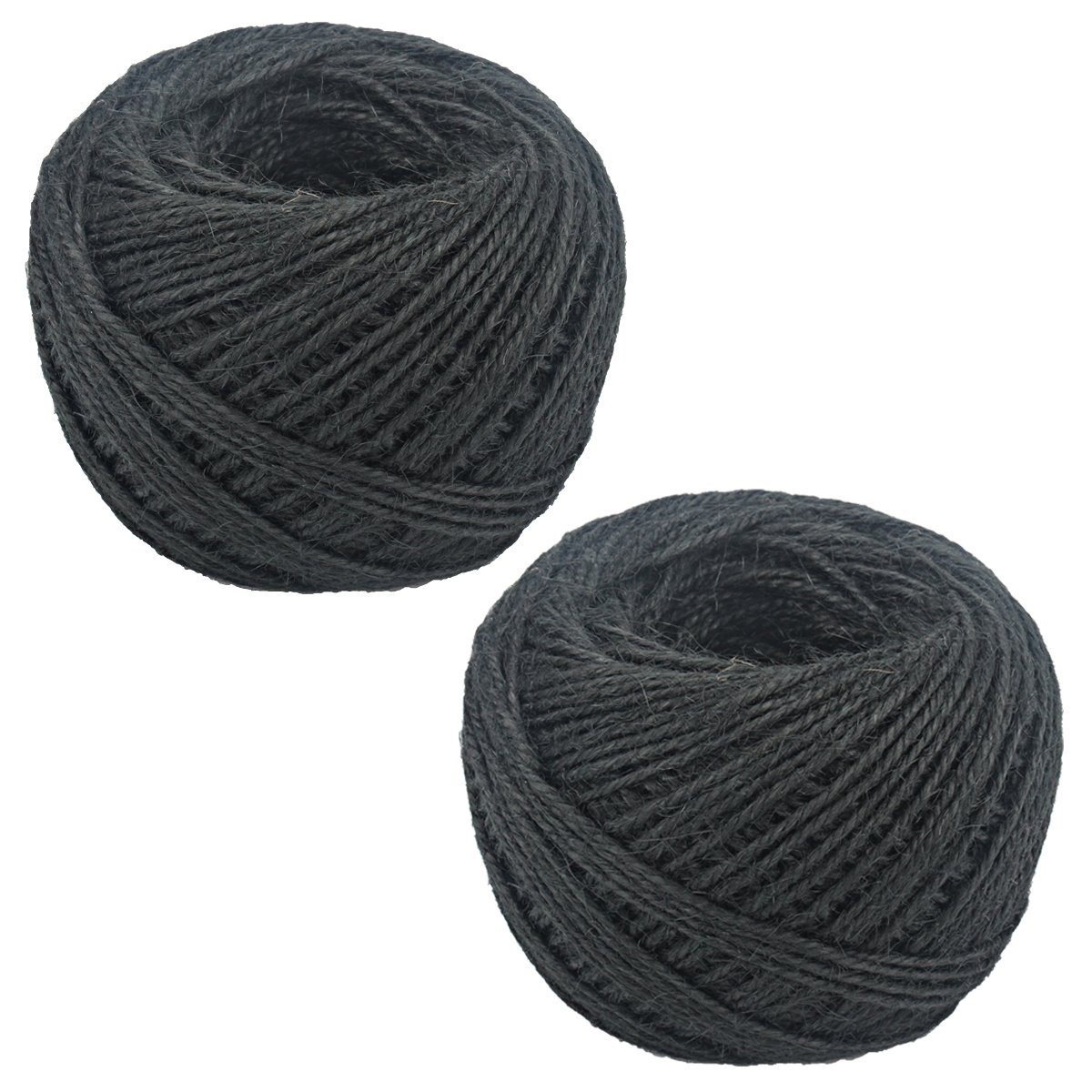 200M 2mm Natural Jute Rope Hemp Twine Strong Cord Thick Rope String for DIY Craft Home Garden Deco (Black-2pcs)